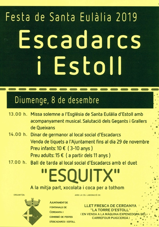 CARTELL FESTA MAJOR ESCADARCS I ESTOLL